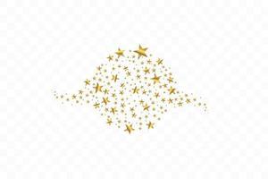uppsättning gyllene fallande stjärnor. moln av gyllene stjärnor isolerad bakgrund. vektor illustration. meteoroid, komet, asteroid, stjärnor