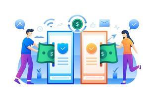 kontaktlöst e-pengar-koncept vektor