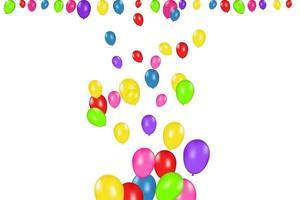 Farbzusammensetzung von realistischen Vektorballons lokalisiert auf weißem Hintergrund. Luftballons isoliert. für Geburtstagsgrußkarten oder andere Designs