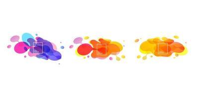 abstrakte geometrische Formen. flüssige Gradientenfahnen lokalisiert auf weißem Hintergrund. flüssiger Vektorhintergrund. Geometrische Banner mit Farbverlauf und fließenden Flüssigkeitsformen. dynamisches flüssiges Design für Logo, Flyer oder Präsentationen. abstrakter Vektorhintergrund