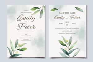 grüne Hochzeitseinladungskartenschablone mit Aquarell-Eukalyptusblättern vektor