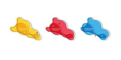 moderner abstrakter Vektorfahnensatz. flache geometrische flüssige Form mit verschiedenen Farben. moderne Vektorschablone, Schablone für die Gestaltung eines Logos, Flyers oder einer Präsentation. abstrakte geometrische Formen