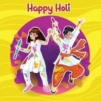 Holi-Grüße mit freudigen Tänzern vektor