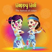 Holi-Grüße mit traditionellen Tänzern vektor