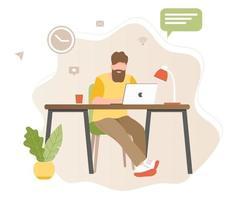 Home-Office-Konzept, ein bärtiger muslimischer Mann, der von zu Hause aus arbeitet, Student oder Freiberufler vektor