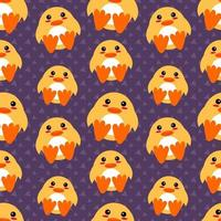 söt anka djur sömlösa mönster illustration vektor