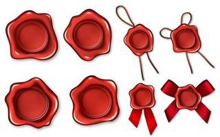 realistiska 3d röda vaxförseglingar repband anger symbol för kvalitet, garanti eller hemlighet. vektor illustration
