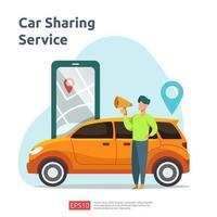 bildelning illustration koncept. online taxi eller hyra transport med hjälp av smarttelefontjänstapplikation med karaktär och ruttpunkter plats på GPS-karta för målsida, banner, webb, ui, flygblad vektor