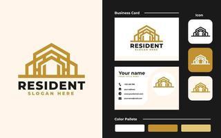 fastighetslogotyp och visitkortsmall - bra att använda för konstruktion och arkitekturbyggnad vektor