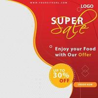 Food Sale Banner für Social Media Cover, Post und Web Werbung vektor