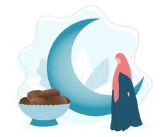 Islamischer Monat Ramadan mit Mond, muslimischer Frau und Datteln vektor