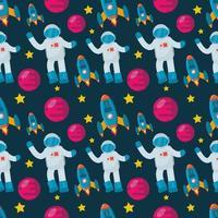 Astronaut mit Raumschiff nahtlos Muster Illustration Hintergrund