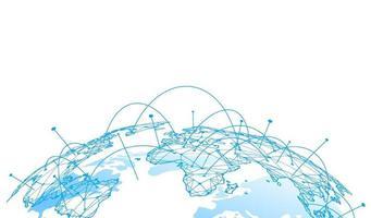 global nätverksanslutning. världskarta punkt och linje sammansättning koncept för global verksamhet. vektor illustration