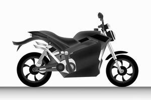 realistisk svart motorcykel på vit bakgrund