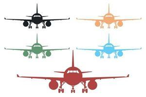 Vorderansicht Flugzeugikonensatz Vektorillustration