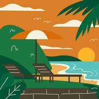 Strand-Erholungsort-Sonnenuntergang-Vektor vektor