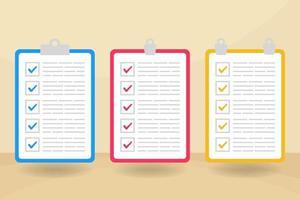 bunte Checklisten-Sammlung mit flachem Design vektor