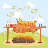 Grill-Schwein-Braten-Vektor vektor