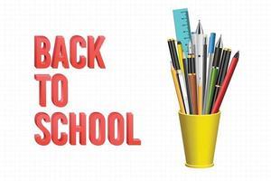 Zurück zum Schulhintergrund mit Kugelschreibern und Bleistiften vektor