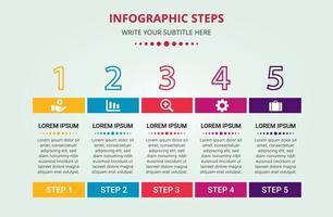 stilvolle 5 Schritte Infografik Vorlage vektor