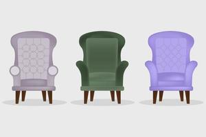 realistische moderne Sessel gesetzt vektor