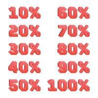 Satz von 3D-Rabattnummern von 10 bis 100 alle 10 vektor