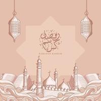 Ramadan Kareem mit Hand gezeichneten islamischen Ornament Illustration Hintergrund vektor