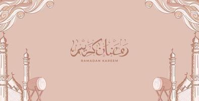 ramadan kareem med handritad islamisk prydnad illustration bakgrund vektor
