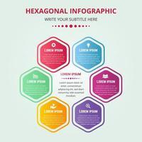 hexagonale Infografik-Vorlage mit Farbverlauf vektor