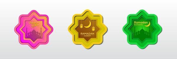 samling av ramadan kareem ornament vektor