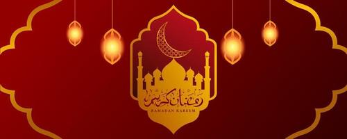 ramadan kareem med guldprydnader vektor