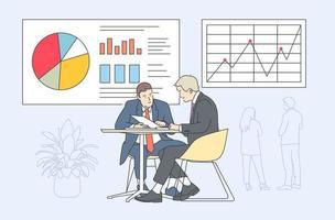 coworking, lagarbete, affärspresentationskoncept. affärsmän gör lagarbete eller samarbetar på företagspresentation. vektor