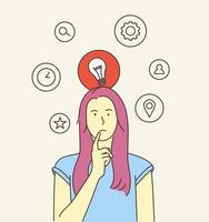 tänkande, idé, sök, affärsidé. ung kvinna eller tjej, obeslutsam dam tänkte välja beslut dilemman löser problem att hitta nya idéer. platt vektorillustration vektor