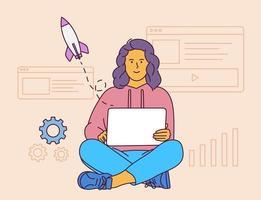 Startup-Geschäftskonzept. junge lächelnde Frau-Zeichentrickfigur, die gute Idee und Innovation sitzt. flache Vektorillustration.