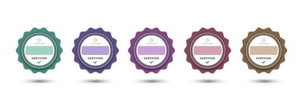Abzeichen Logo Design für Unternehmen Business feminine dekorative abgerundete Blumenstil. Set Bundle zertifizieren bunte Pastell Vektor-Illustration. vektor