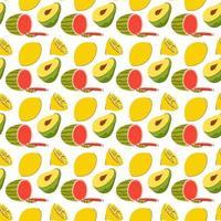 fruktmönster med färgläggning av klottervattenmelon, avokado, citron. vektor sömlösa mönster av frukter illustration