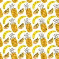 sömlös wrap-mönster med fruktananas, banan, apelsin. sömlösa mönster med frukt bakgrund. vektorillustrationer för sömlös wrap-design. vektor