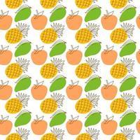 sömlös wrap mönster frukt element. elegant sömlöst mönster med orange, mango, ananasfrukter designelement. fruktmönster för inbjudningar, kort, tryck, sömlös wrap, tillverkning, textil, tyg, tapeter, caffe meny. vektor