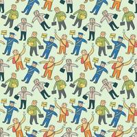 mönster sömlösa barn med arbetare doodle element. sömlösa mönster, människor illustration i en tecknad platt stil, vektorillustration. vit bakgrund. vektor