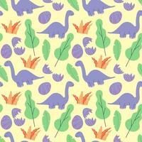 söta dinosaurier och tropiska växter. rolig tecknad dino sömlösa mönster. handritad vektor doodle design för tjejer, barn. handritat barnmönster för modekläder, skjorta, tyg