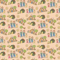 vektor uppsättning illustrationer av en lycklig familj på vintern, mor, far och barn på nyårs- och julhelgen, ritade människor, träd, julgranar, buskar, hund