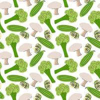 nahtloses Muster mit Pilzen, Gurkenscheiben, Brokkoli auf einem weißen Hintergrund. Vektorillustration von Zutaten für Lebensmittelhintergrund in einem flachen Gekritzelstil. vektor