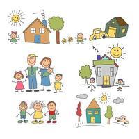 uppsättning element glad familj klotter färgglada. familjeliv och hushållsset vektor