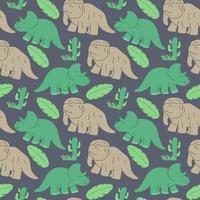 nahtloses Muster der lustigen Dinosaurier, ideal für Karten, Einladungen, Tapeten, Hintergründe und Kinderzimmerdekoration. vektor