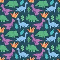 niedliche Dinosauriermuster-Designvektor. süßes Kindermuster der Dinosaurier für Mädchen und Jungen, bunte Karikaturtiere auf dem abstrakten kreativen nahtlosen Hintergrund, künstlerischer Hintergrund für Textil und Stoff. vektor