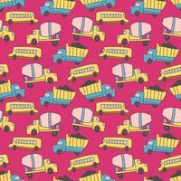 mönster med lastbil och buss transportelement. vektor transport sömlösa mönster