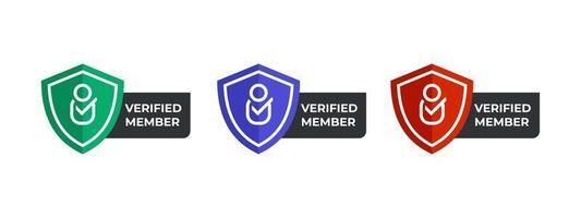 verifierade medlemslogotypikoner i modern design. vektor illustration mall.