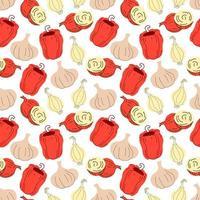 nahtloses Mustergemüse mit Elementen von Zwiebel, Knoblauch, Paprika vektor