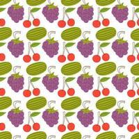 Fruchtmuster mit bunten Wassermelonen, Kirschen, Trauben. handgezeichnet verschiedene leckere saftige Früchte. trendige Illustration. flaches Design. Cartoon-Stil. nahtloses Muster des farbigen Vektors. schwarzer Hintergrund vektor
