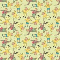 mönster sömlösa barn med tonåring doodle element. grupp tonåringar i trendiga kläder avslöjar olika känslor. humörsuttryck. modernt modeutseende. handritad vektor sömlösa mönster. platt design. tecknad stil. alla element är isolerade